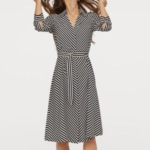 Black/White Striped Dress with Belt